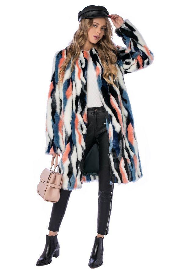 Мода зима 2017. Шуба цветногоиз эко-меха