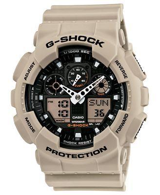 G-Shock Watch, Men's Analog-Digital Beige Resin Strap 51x55mm GA100SD-8A