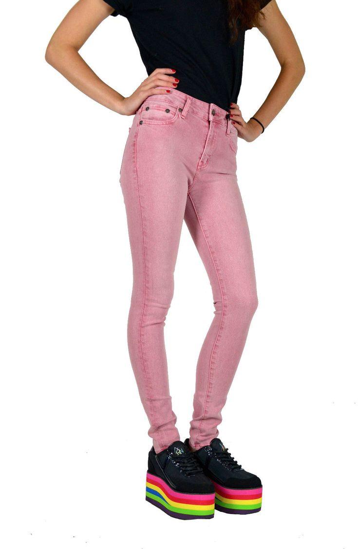 Kill City Lip Service Punk Rocker Vintage Hi Waisted Stretchy Skinny Jeans Pants