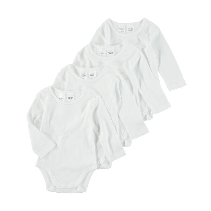 4 Pack Long Sleeve Bodysuit | Kmart