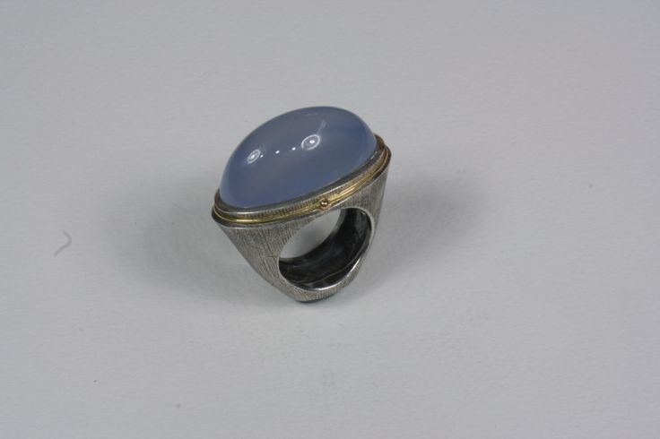 Sterling silver, 18kt Gold, lavender chalcedony ring