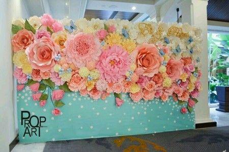 Decoração de festa com flores de papel, decoração quarto parede