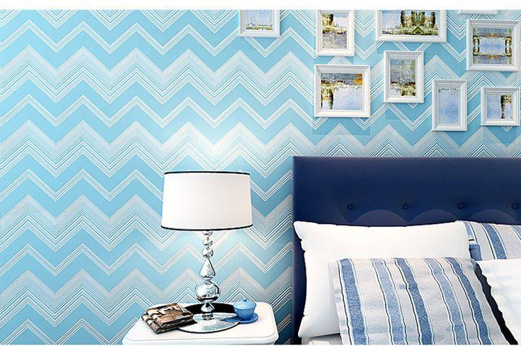 De la mediterráneo a rayas papel pintado moderno papel pintado auto adhesivo dormitorio en Papel Pintado de Mejoras para el Hogar en AliExpress.com | Alibaba Group