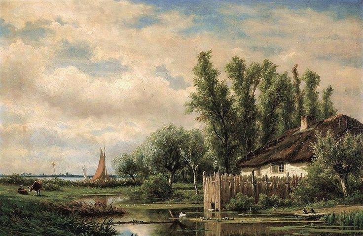 """River landscape"" By Adrianus van Everdingen, Dutch Artist (1832-1912) oil on panel; 38 x 57.5 cm; 15 x 22.6 in Private Collection"