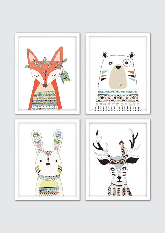 Woodland Tribal Animals Nursery Print Set Of 4 Prints For Your Boho Room Decor