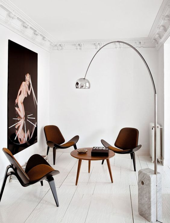 Arco Floor Lamp by Achille Castiglioni for FLOS Shell Chair by Hans Wegner ~ETS #minimalism
