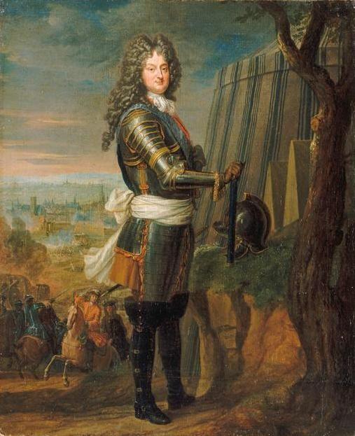 Philippe d'orléans en 1717 - régent du Royaume de France pendant la minorité de Louis XV. Il était le fils de Philippe de France (frère cadet de Lois XIV) et de la Prince Palatine Charlotte-Elisabeth de Bavière. Ses titres Duc de Chartres et Duc d'Orléans à la mort de son Père