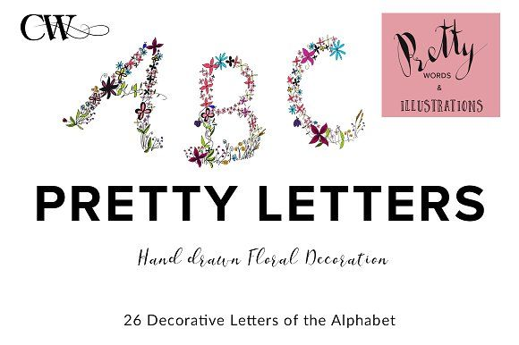 Floral Decorated Monograms Alphabet by CoutureWeb on @creativemarket