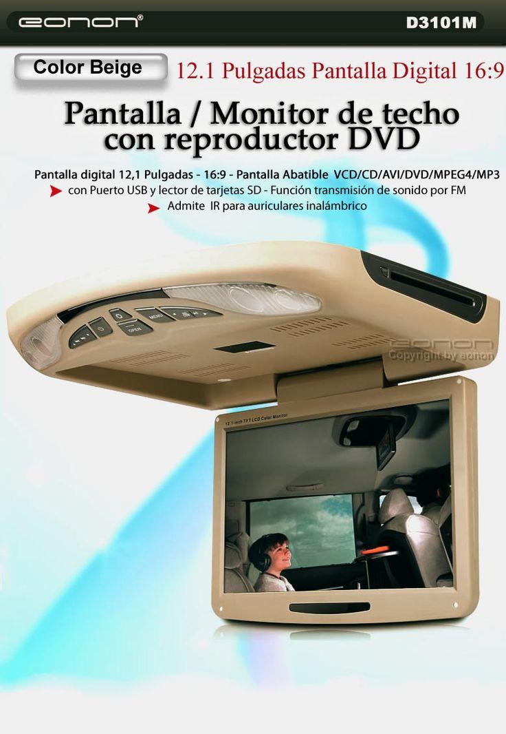 """*** Precio 269€ ***Pantalla DVD de techo 12,1"""" D3101M-Pantalla ALTA DEFINICION. Luces de cortesía - Función emisor radio FM (Puedes emitir el sonido del DVD por los altavoces del vehículo).Función IR para auriculares inalámbricos(no incluidos) Formatos compatibles: AVI, VCD, CD, MP3, CD, MPEG4, DVD.Pantalla digital 16:9 abatible.Resolución de imagen: 1280 x RGB X 800 (WXGA).Puerto USB / Lector de tarjetas SD."""