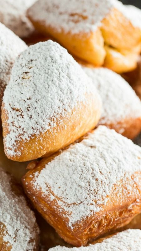 Homemade Beignets Recipe ~ pillowy pieces of deep fried dough coated in powdered sugar