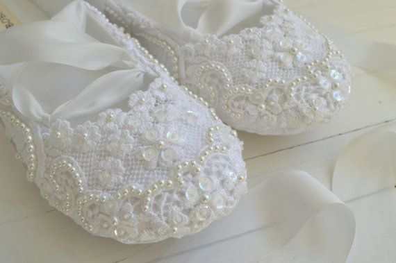 White Bridal Flats, Wedding Shoes, Lace and Pearls, ASHLEY by Bobka Baby