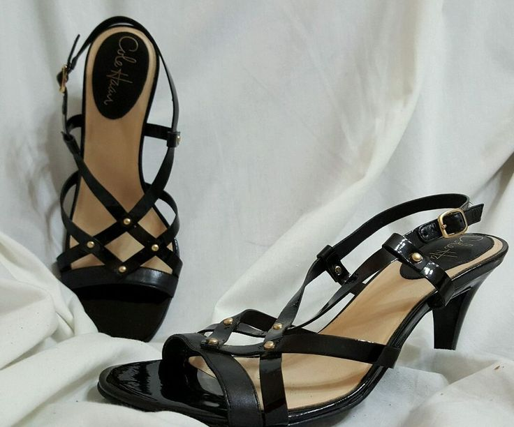"Cole haan womens shoes strappy heels sz 8 air 'vineyard"" black leather  #ColeHaan #Strappy"