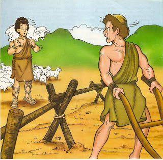 Prachtige platen bij het verhaal van Kaïn en Abel / Bible visuals, free printable /  CAIM E ABEL_VISUAIS COLORIDOS