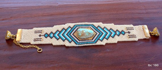 Southwest Beaded Bracelet OOAK Southwest Style by TombstoneBeads