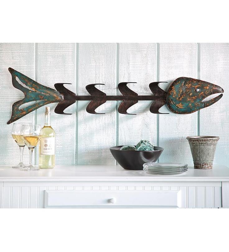 Metal Fish Bones Wine Rack Wall Art Sideways