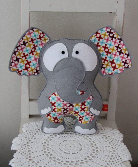 Such a cute baby gift idea: Felt elephant toy/softie grey stuffed plush by Plushka on Etsy, $52.00