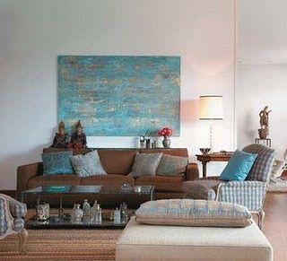 sala sofá Casa de Marina: Combinação perfeita: azul e marrom