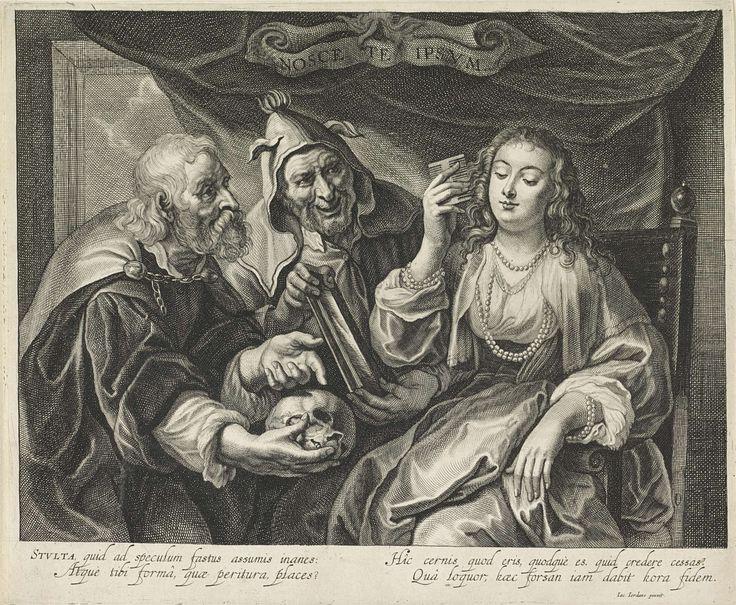 Alexander Voet (II) | Vrouw met een kam kijkt in een spiegel, Alexander Voet (II), 1661 - 1695 | Allegorische voorstelling met een vrouw zittend in een stoel, veel parels rond haar polsen en hals, die haar haar kamt terwijl zij in de spiegel kijkt die wordt vastgehouden door een man met een narrenkap. Een tweede man waarschuwt voor ijdelheid door naar een schedel wijzen.