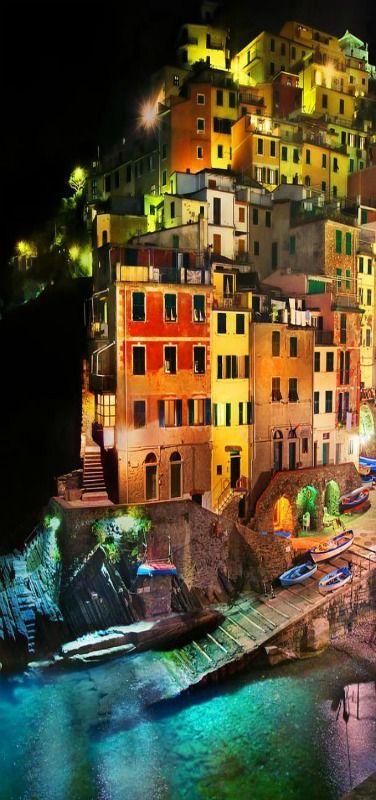 Reflections in Riomaggiore Di Notte, Cinque Terre, Italy