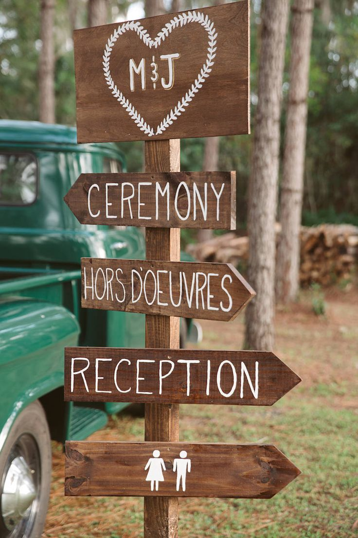 directional sign for outdoor rustic wedding tampa bay wedding planner glitz events