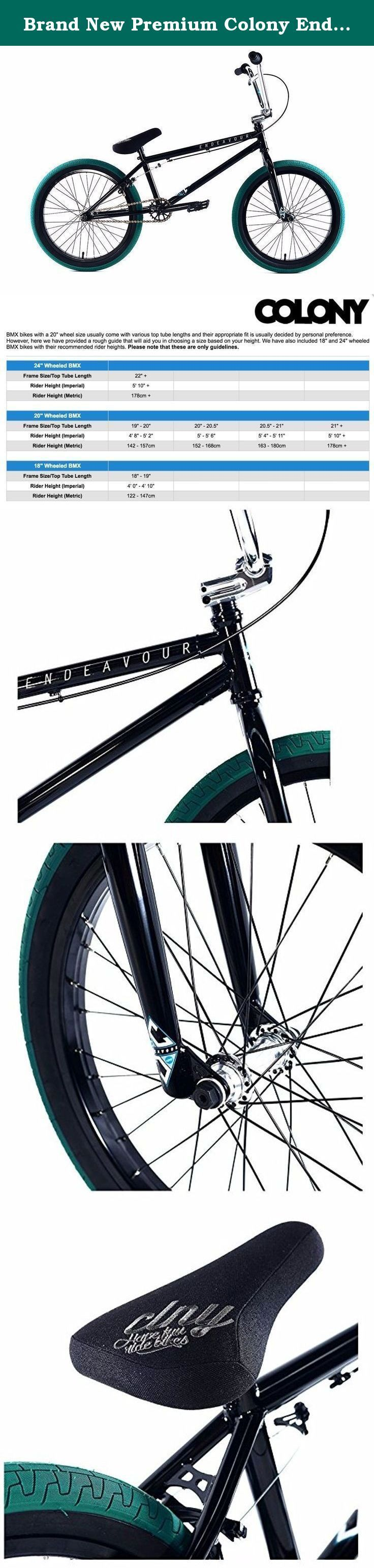 """Brand New Premium Colony Endeavour 20"""" BMX Bike 2017 Gloss Black Emerald. Colony Endeavour BMX Bike Since its introduction, the Colony Endeavour BMX Bike has been consistently great value, offering high-end spec at a mid-range price. This addition offers all the usual great points about the Endeavour, with upgraded geometry & spec to reflect the demands of modern day BMX. Specification Headset: Integrated Stem: Colony Squareback top load, full CNC 7075-T6 alloy Bars: Colony full CrMo, 9″..."""