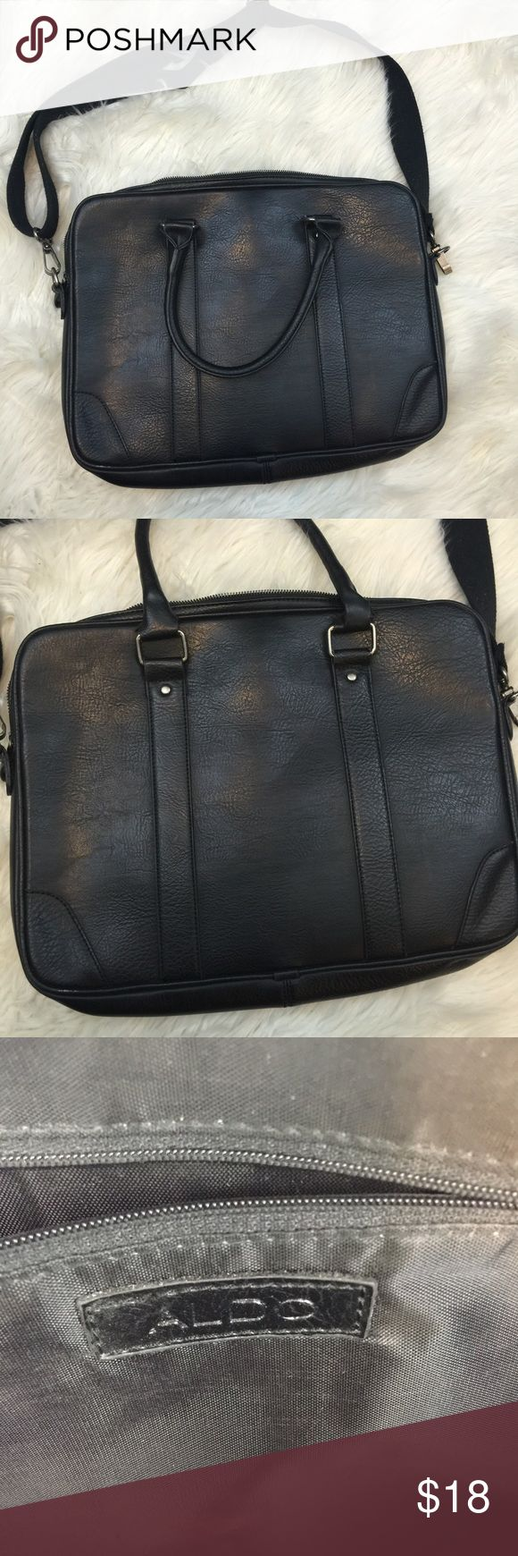 Aldo Black Leather Messenger Bag Beautiful bag, gently used with no flaws Aldo Bags Laptop Bags