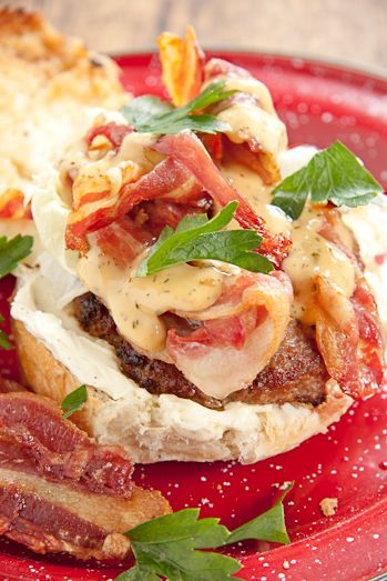 Crispy Bacon, Creamy Cream Cheese and toasted Burger buns. What more could you ask for?