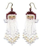 Santa Dangle Earring Pattern and Kit : Beading Patterns and kits by Dragon!, The art of beading.