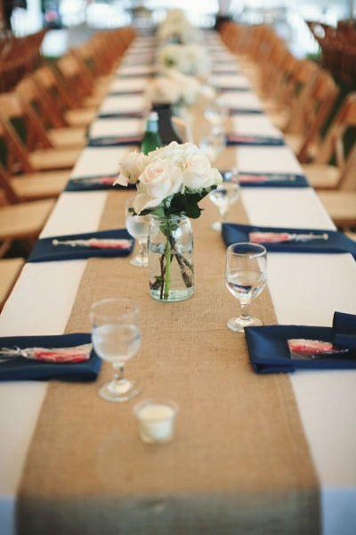 Style Me Pretty - white table cloth, burlap runner, navy napkins
