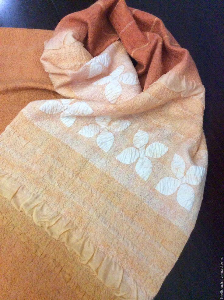 """Купить Шарф валяный """"Orange spirit"""" - оранжевый, шарф женский, шелковый шарф, тонкий шарф"""