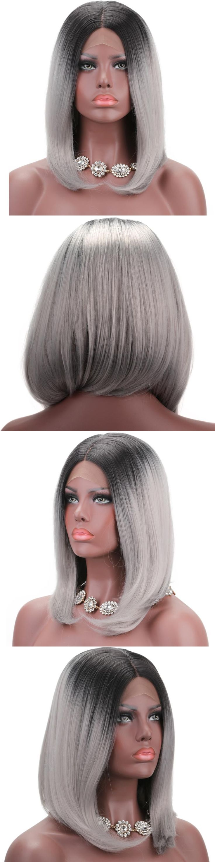 COLODO Ombre Two Tone Synthetic Grey Hair Wigs Natural Bob Cut Silky Straight Heat Resistant Silver Wigs For Black Women