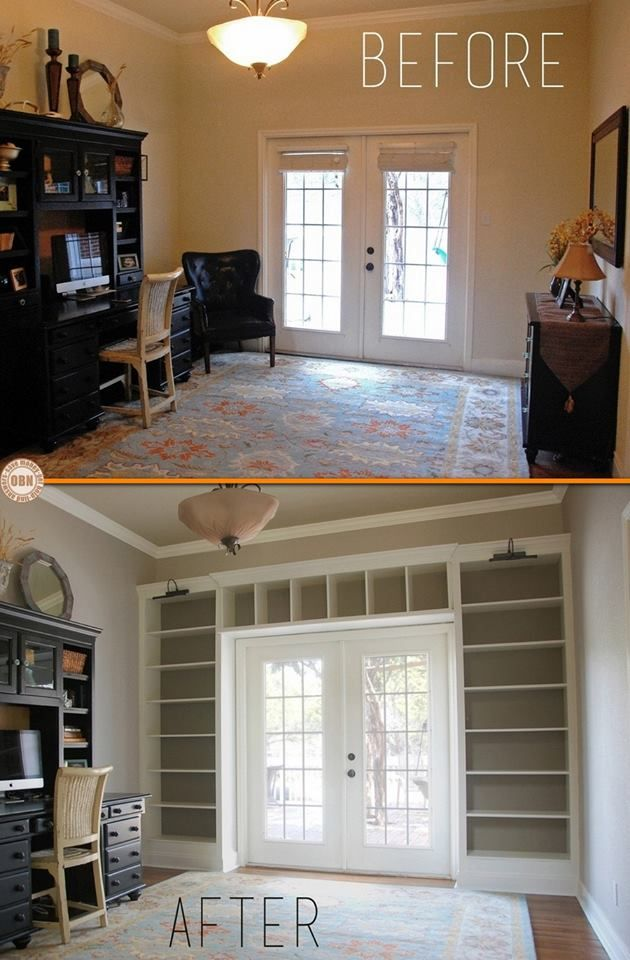 Ikea Shelves Into Built-in Bookcases :: I really love this. You could turn any room into a library with this idea.
