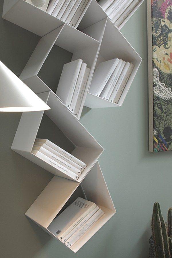 Floating metal bookcase W SU LINE by Ronda Design design Diego Collareda