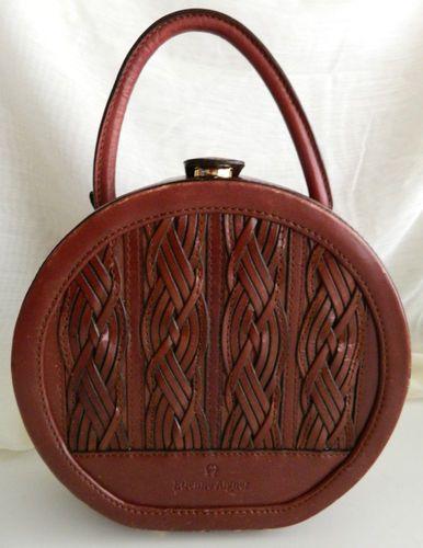 Vintage Etienne Aigner Round Leather Train Case Handbag