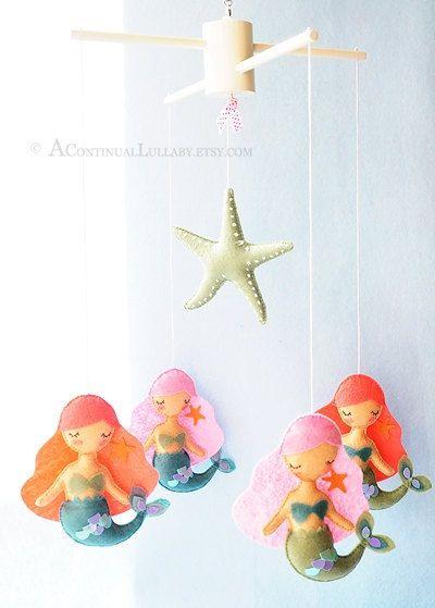 Mermaid Starfish Baby Mobile, Sea Mobile, Ocean Nursery Decor, Coral Pink Aqua…