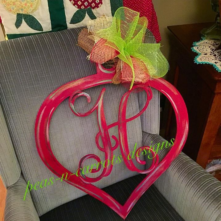 Monogrammed Vine Ornament Wooden Door Hanger Peas N