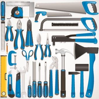 Ortment Of Tools Vector Set Hand Mechanical