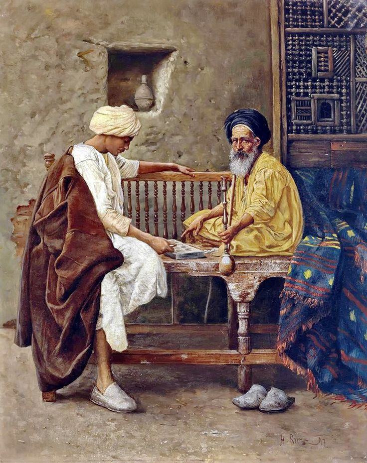 Playing a Game of Mancala  By Hermann Reisz - Austrian ,1865-1920  Oil on canvas , 54.6 X 45.1 cm