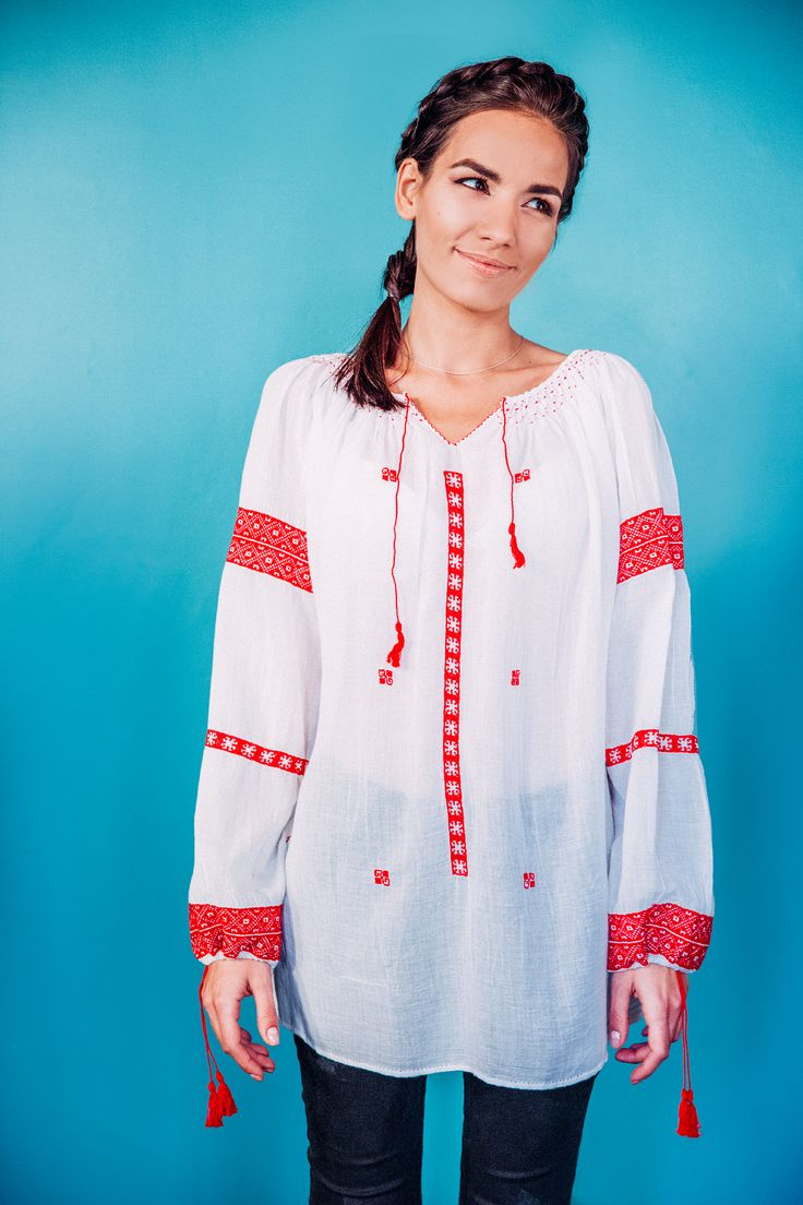100% handmade Romanian blouse, embroidered on the sleeves and front  with red thread.  Price: 450 lei (100 EUR) Details on:  facebook.com/singularRO singularwear@yahoo.com #romanian #readytowear #limitededition #fashion #romanianblouse