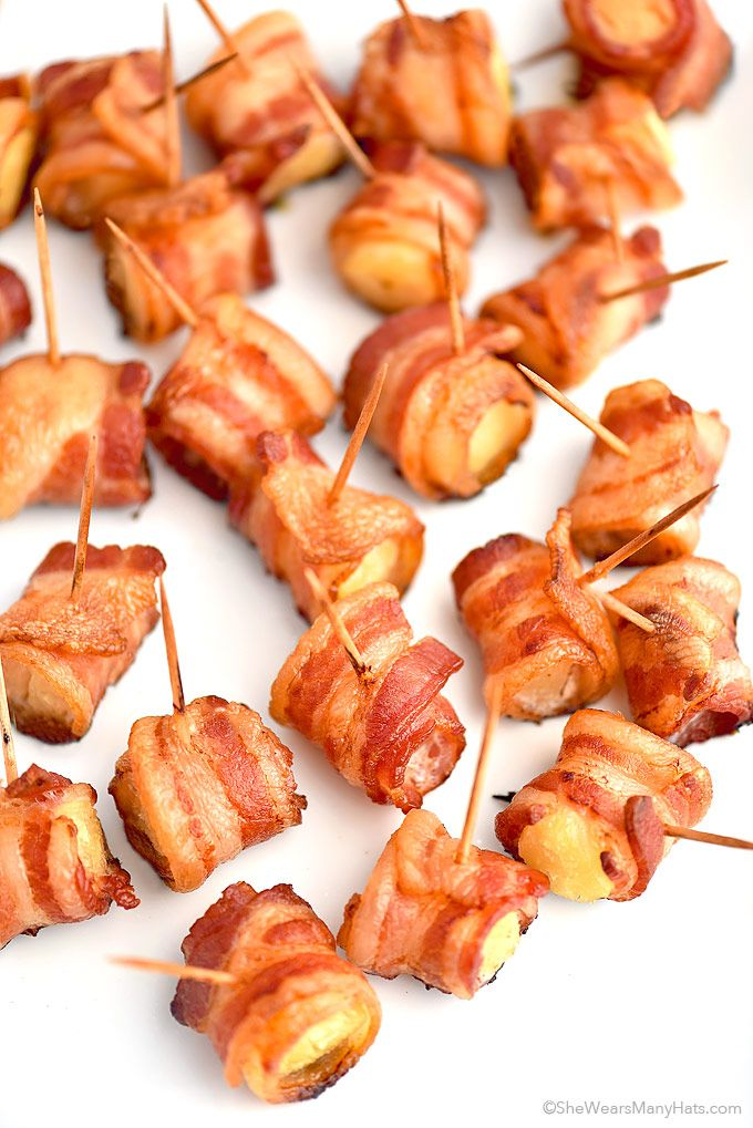 Bacon Wrapped Pineapple Bites Recipe | http://shewearsmanyhats.com/bacon-wrapped-pineapple-bites-recipe/