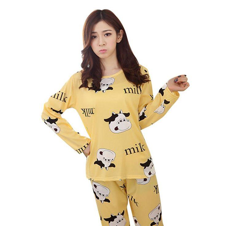 Pajamas Sexy Lingerie Women Underwear Evening Wear Bathrobe Indoor Spring Pyjamas Suits Cartoon Home Sleepwear Long Sleeve