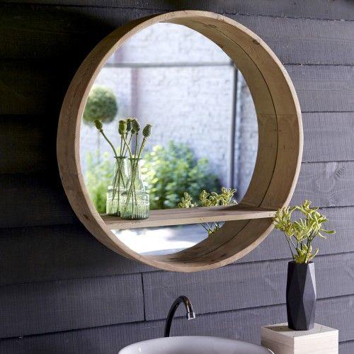 Miroir rond en pin 70x70 – Vente de miroirs Aya chez Tikamoon
