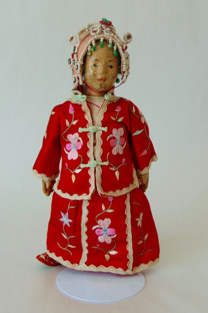 """ANTIQUE CHINESE Doll c1910 FIVE FINGER CHING Canton NICE COSTUME! eBay, May 2017, $67.99 ~~MEASURES 8 1/2"""" TALL….THE HEAD AND LIMBS ARE PAPIER MACHE…THE REST IS CLOTH….IN GOOD CONDITION AND FROM A SMOKE FREE HOME….   CALLED A FIVE FINGER CHING DOLL BECAUSE THE AREA OF CANTON THAT THEY ARE FROM IS CALLED FIVE FINGER HILL, AND CHING WAS ADDED BECAUSE IT WAS THE CHING DYNASTY THAT RULED IN CANTON IN CHINA BEFORE THE REPUBLIC OF 1911."""