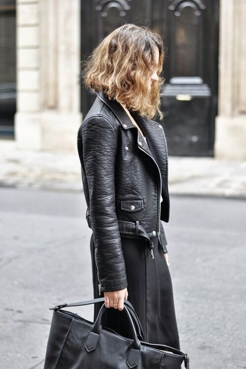 street style, leather moto jacket, black on black
