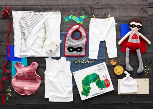 The Very Hungry Hero $210.00  Alimrose Designs Super Hero doll, Alimrose Designs Super Hero bib, Alimrose Designs arm hole back fastening red and white stripe bib, The Very Hungry Caterpillar by Eric Carle, Papinelle Baby Hooded grey stripe towel, Milk Baby Snotty Grotty Room Spray 150ml, Marquise white legging with embroidered stars, Marquise 'Baby' embroidered singlet, Marquise white singlet, Marquise white beanie, Harney & Sons Fine Teas Peach Ginger Twist…