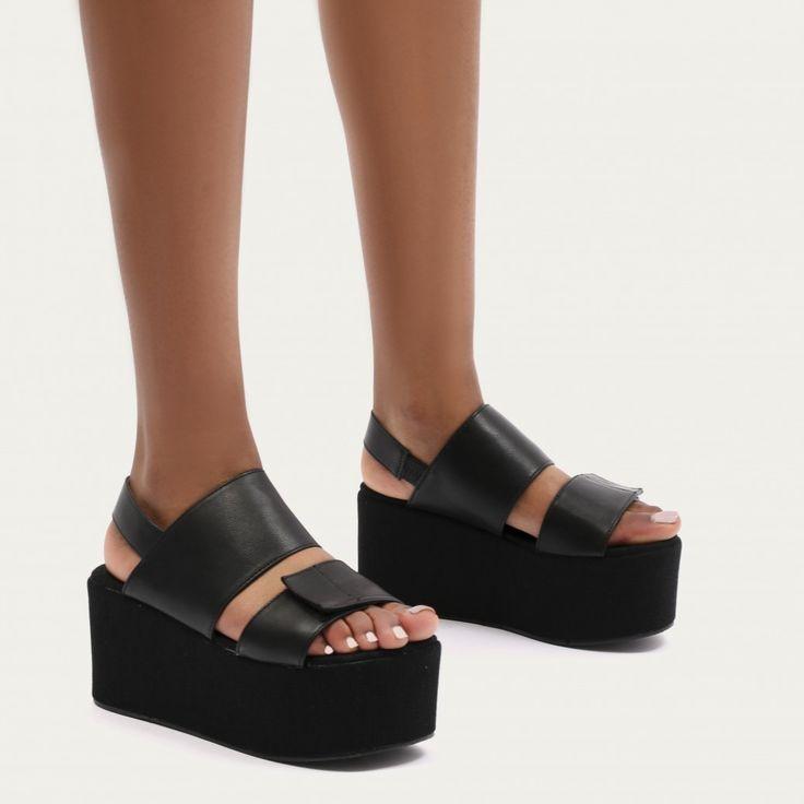 Pixie Velcro Strap Flatform Sandals in Black