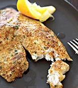 Rachael Ray 5 ingredient parmesan crusted tilapia. prep 10 minutes, cook 10