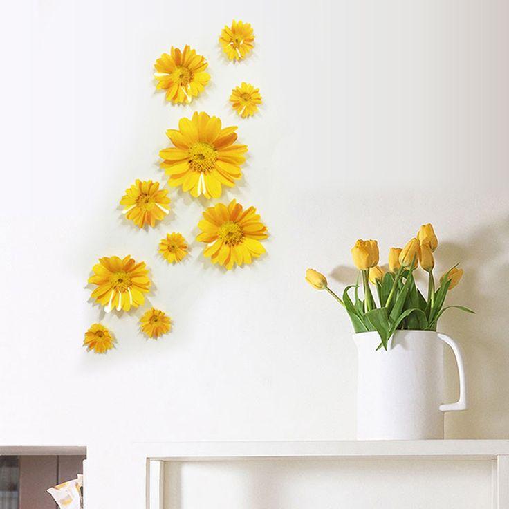 10 pçs/lote 3d da flor da margarida diy adesivos de parede sala de tv/sofá pano de fundo decoração janela decalque mural papel de parede do pvc(China (Mainland))
