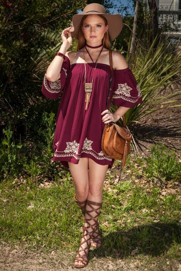 Ditch the jeans and romance it up a bit with our Maya Off The Shoulder Dress! This wine colored dress is unassumingly sexy with beautiful white embroidering and a loose fitting silhouette. Details - 1