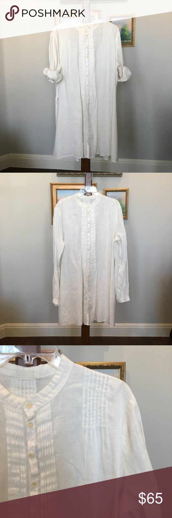 "CP Shades White Linen Tunic size XL Beautiful and effortless ❤️ CP Shades white linen tunic size XL. Button down, roll sleeves, and pin-tuck details. In excellent condition ⭐️ Bust measures 52"", length 36"". CP Shades Tops Tunics"